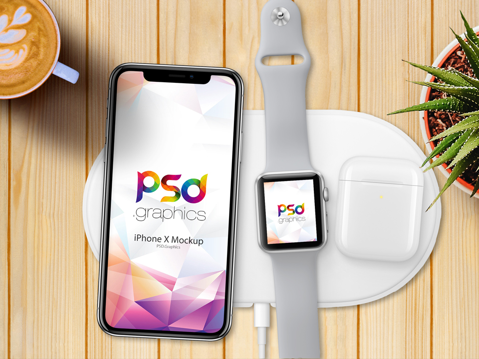 iPhone X with Apple Watch Mockup