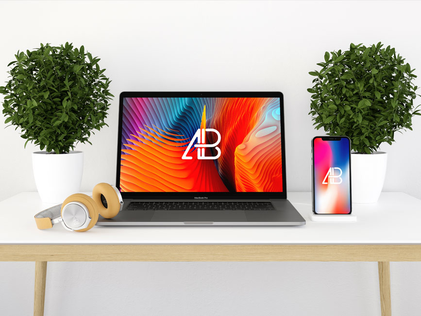 Clean Macbook and iPhone X Mockup