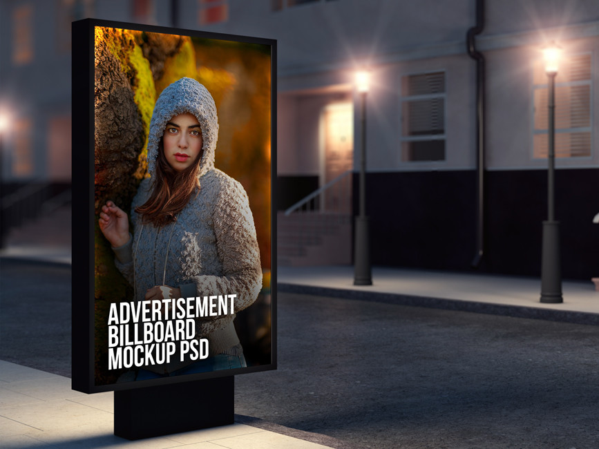 Street Advertising Billboard Mockup