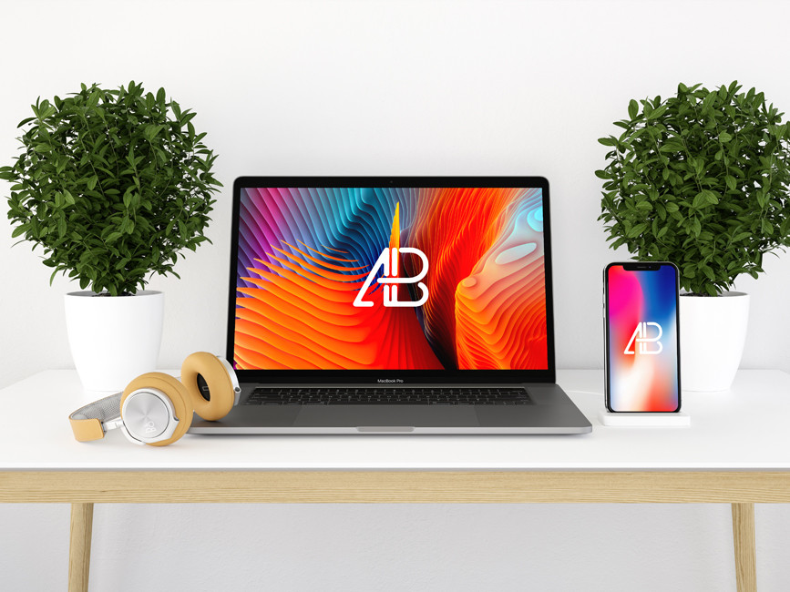 Macbook with iPhone X Mockup