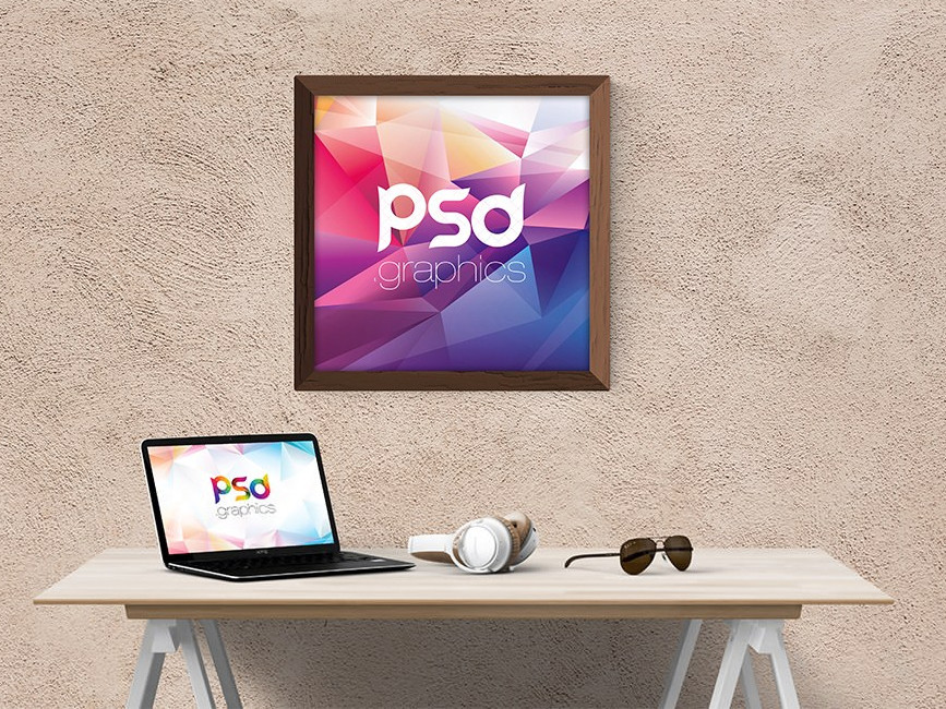 Wall Frame with Laptop Mockup
