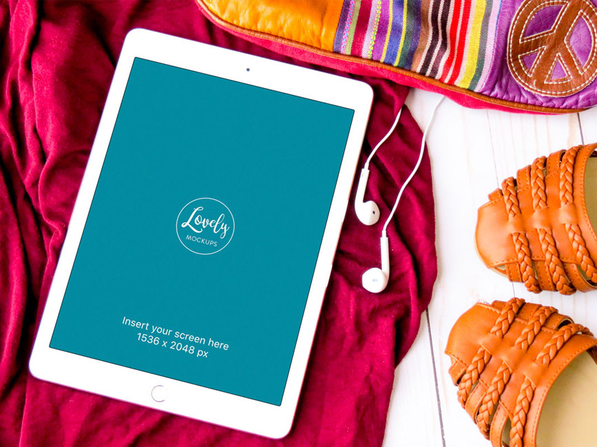 iPad with Fashion Accessories Mockup