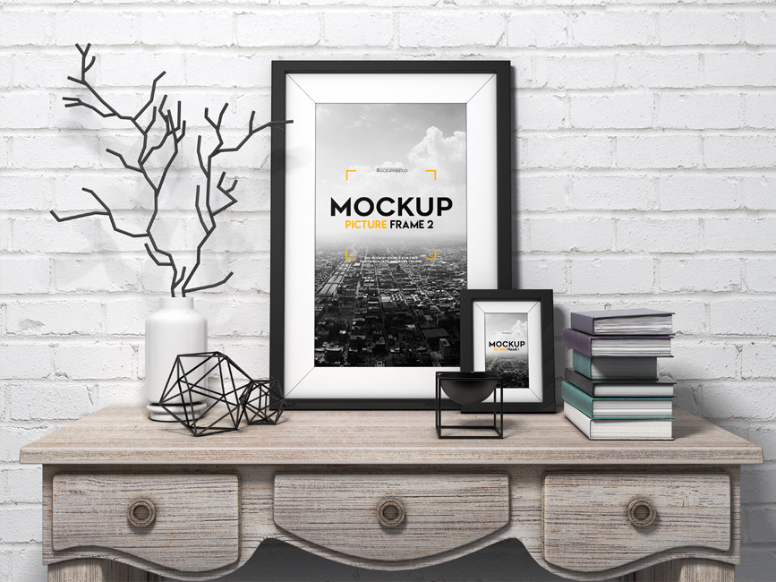 Picture Frame on Table Mockup - Mockup Love