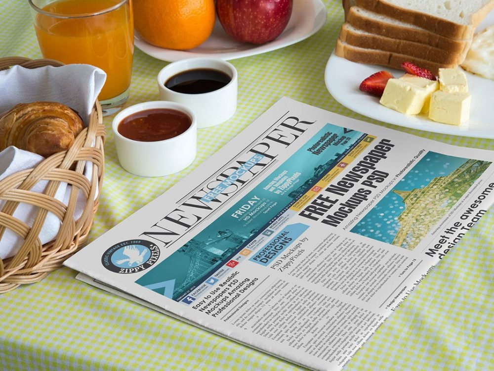 Newspaper on Breakfast Table Mockup PSD  mockup, free mockup, psd mockup, mockup psd, free psd, psd, download mockup, mockup download, photoshop mockup, mock-up, free mock-up, mock-up psd, mockup template, free mockup psd, presentation mockup, branding mockup, free psd mockup