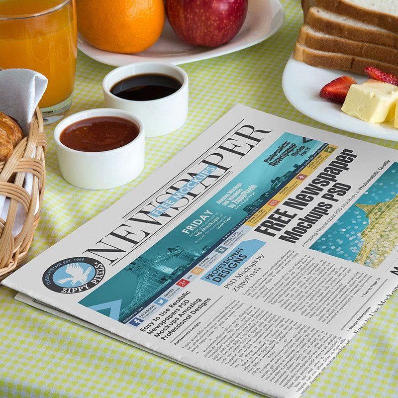 Newspaper on Breakfast Table Mockup PSD