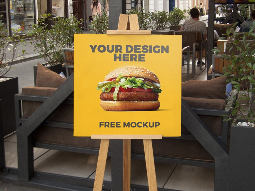Outdoor Advertising Stand Board Mockup