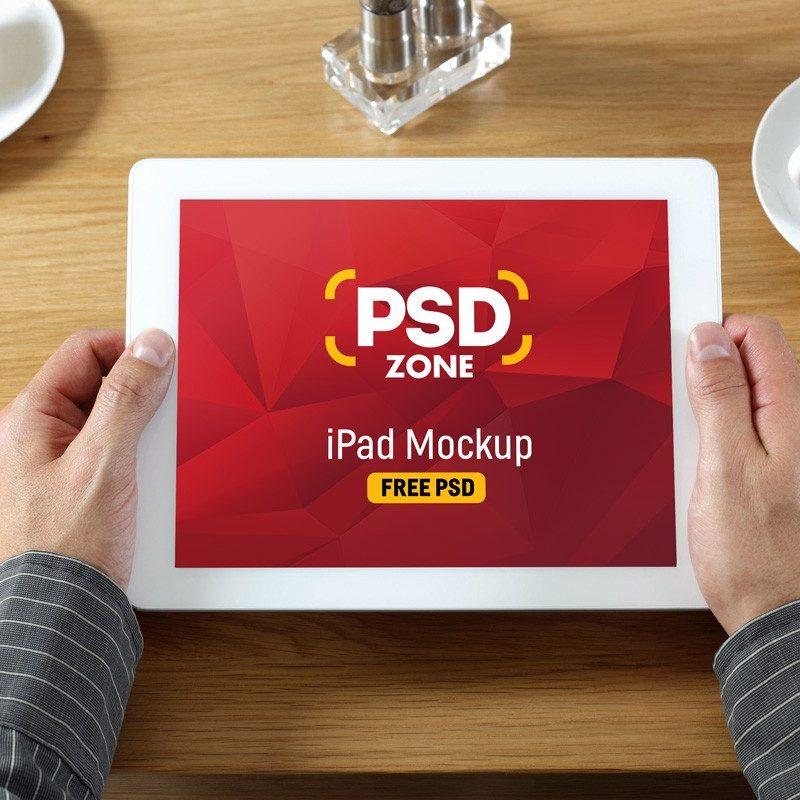 White iPad in Hand Mockup