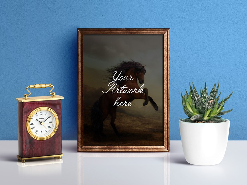 Wooden Photo Frame PSD Mockup