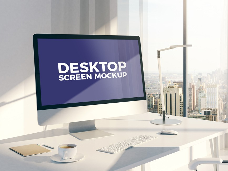 Apple iMac on Office Workstation Mockup