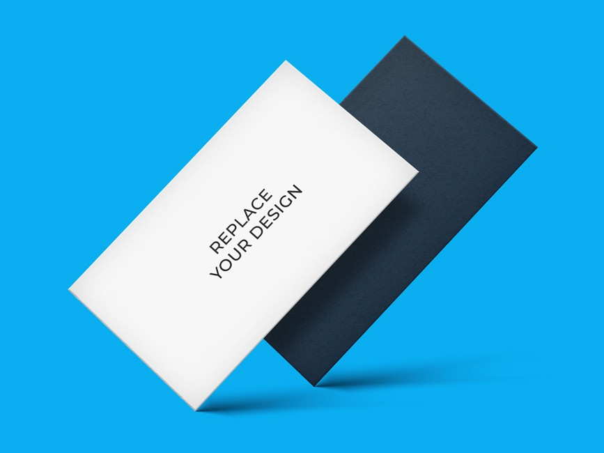 Floating Business Cards Mockup