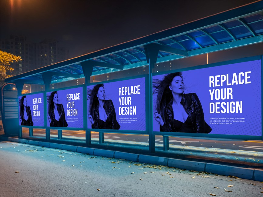 Bus Stop Advertisement Billboard Mockup