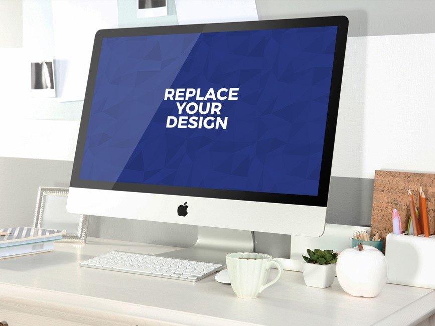 Clean iMac Workspace Mockup