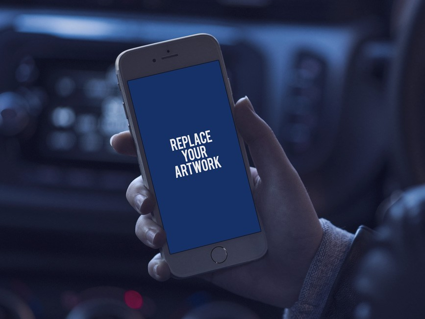 Using iPhone in Car Mockup