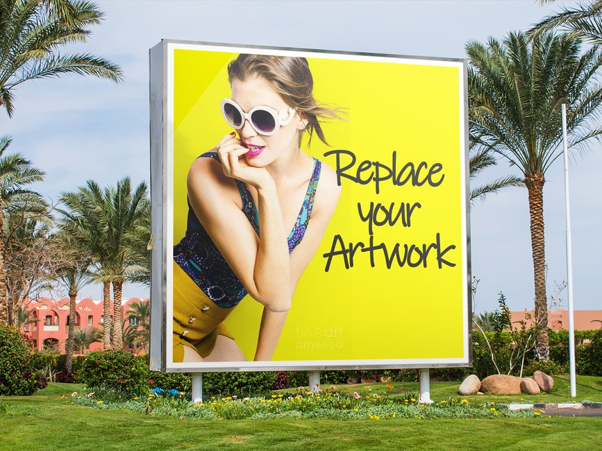 Outdoor Square Advertising Billboard Mockup