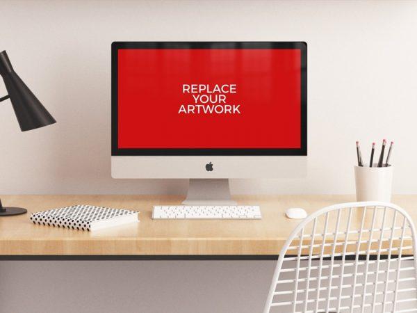 Realistic iMac Workstation Mockup  mockup, free mockup, psd mockup, mockup psd, free psd, psd, download mockup, mockup download, photoshop mockup, mock-up, free mock-up, mock-up psd, mockup template, free mockup psd, presentation mockup, branding mockup, free psd mockup