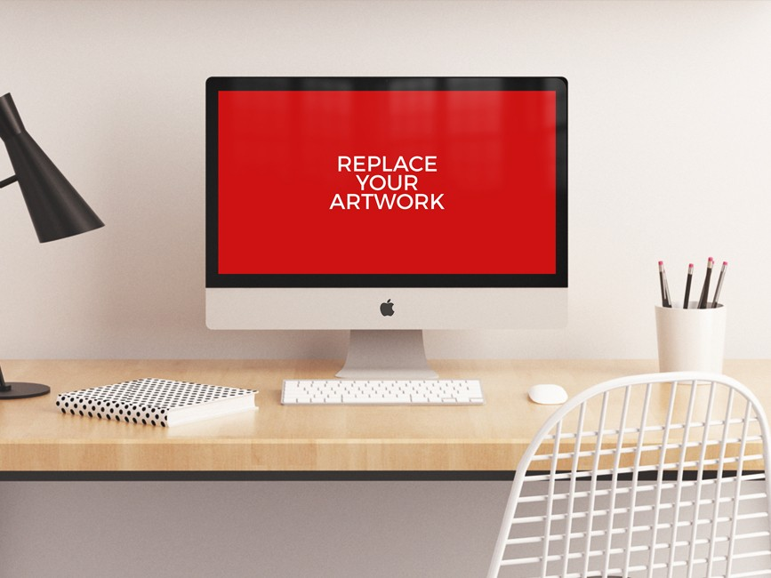 Realistic iMac Workstation Mockup