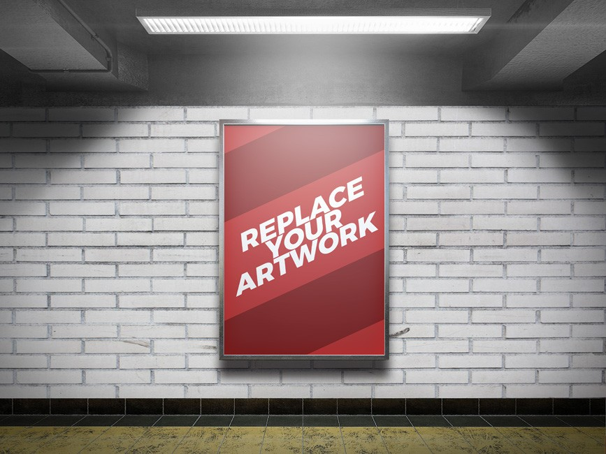 Subway Station Advertising Display Mockup
