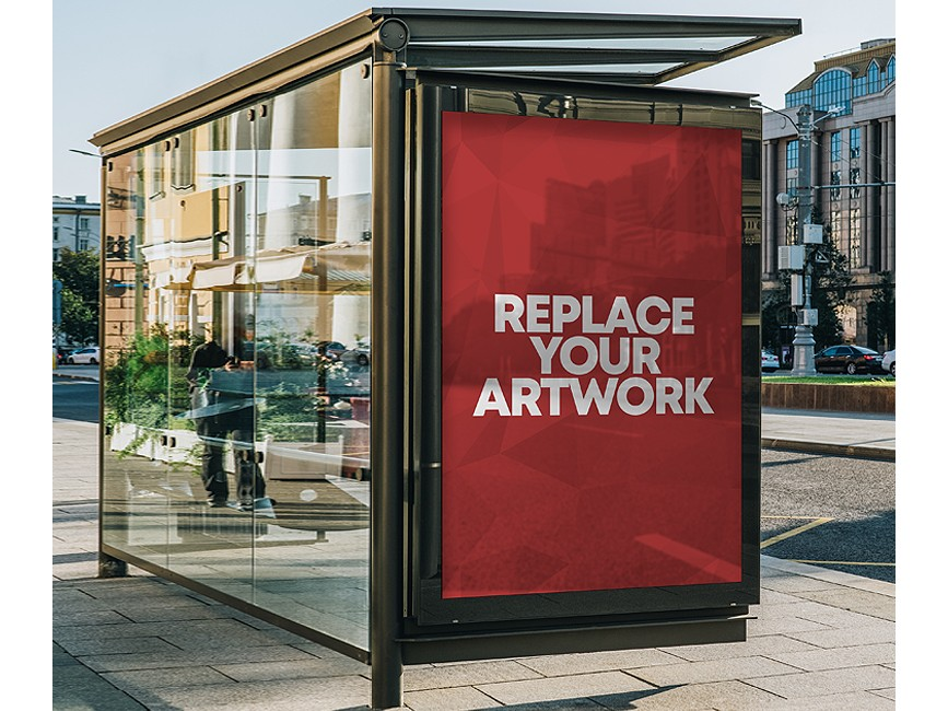 Bus Shelter Advertisement Display Mockup