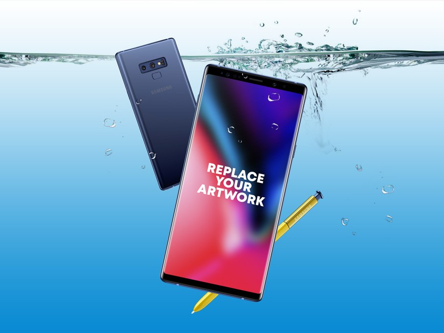 Galaxy Note 9 Underwater Mockup