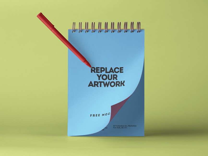Spiral Notepad with Pen Mockup