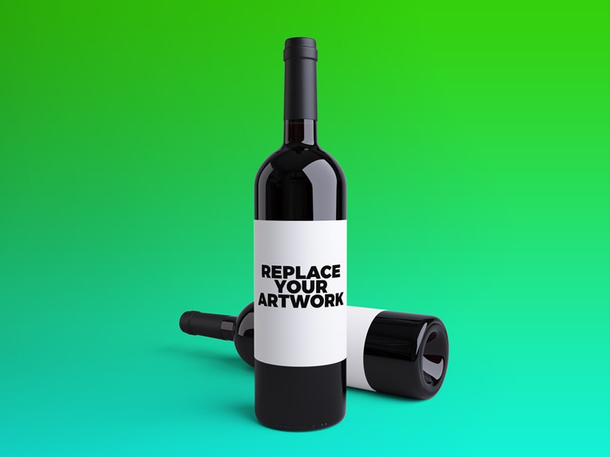 Wine Bottles PSD Mockup