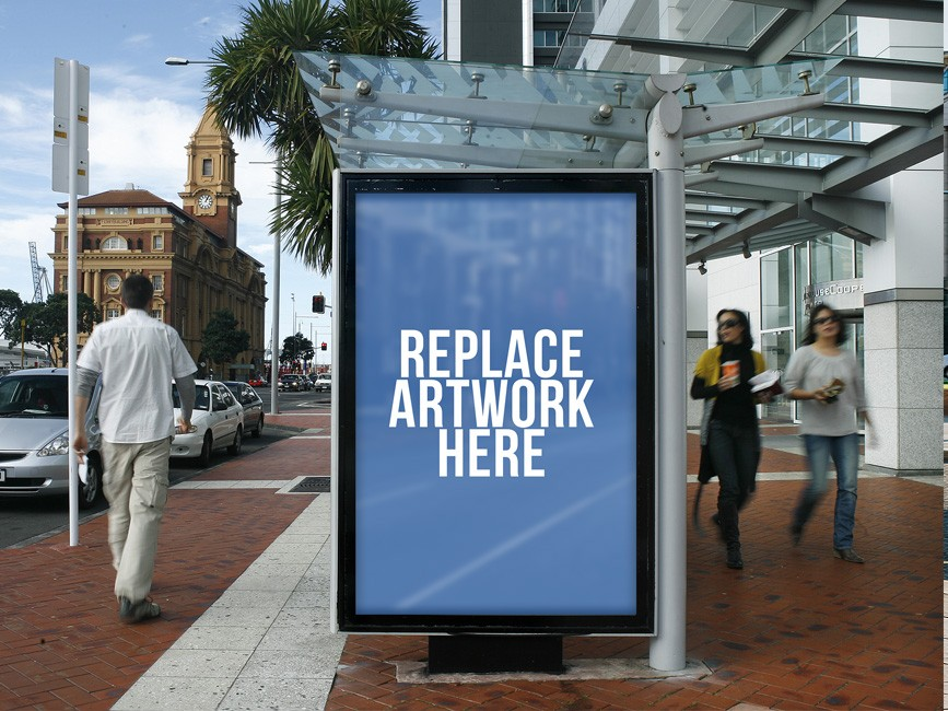 Bus Shelter Poster Billboard Mockup