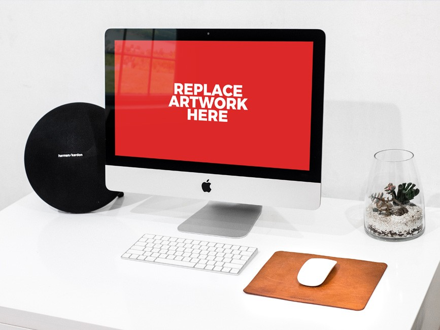 Clean iMac Workstation Mockup