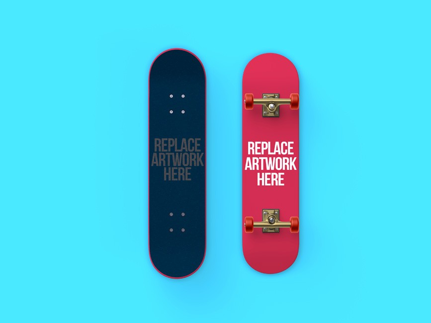 Front and Back Skateboard Mockup