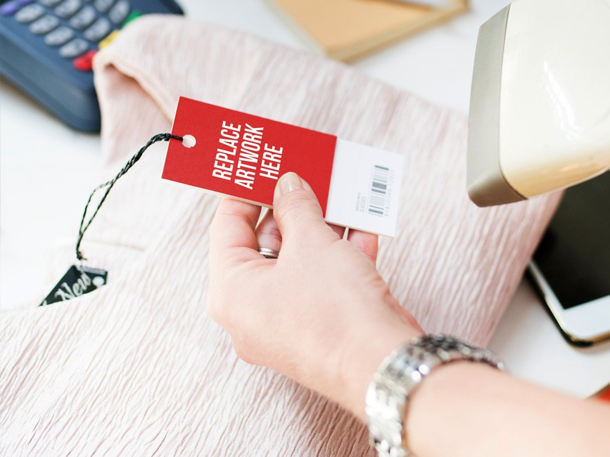 Lady Scanning Price Tag Mockup