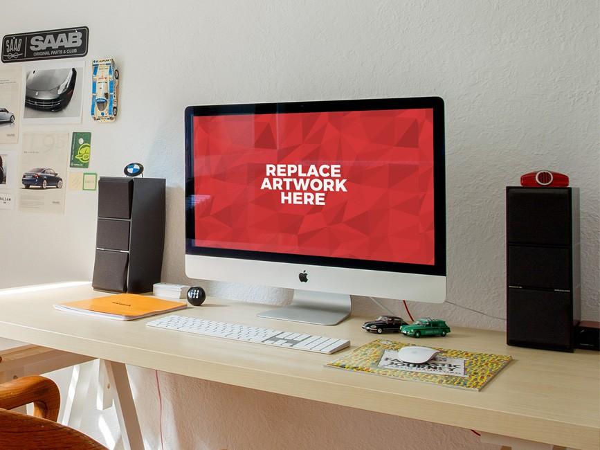 Realistic iMac Workstation PSD Mockup