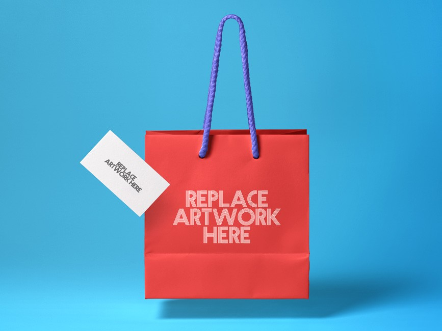 Shopping Bag with Business Card Mockup