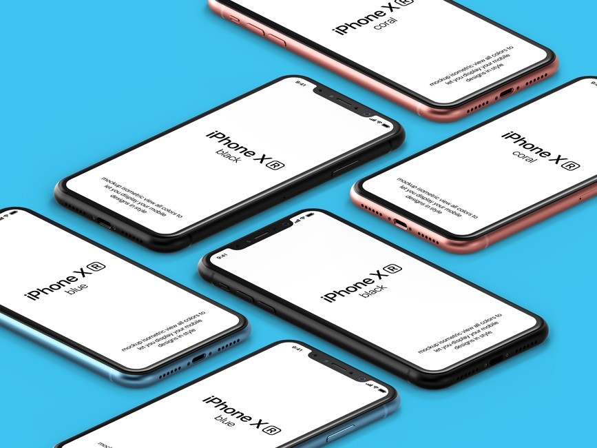 Multiple iPhone XR Perspective Scenes Mockup