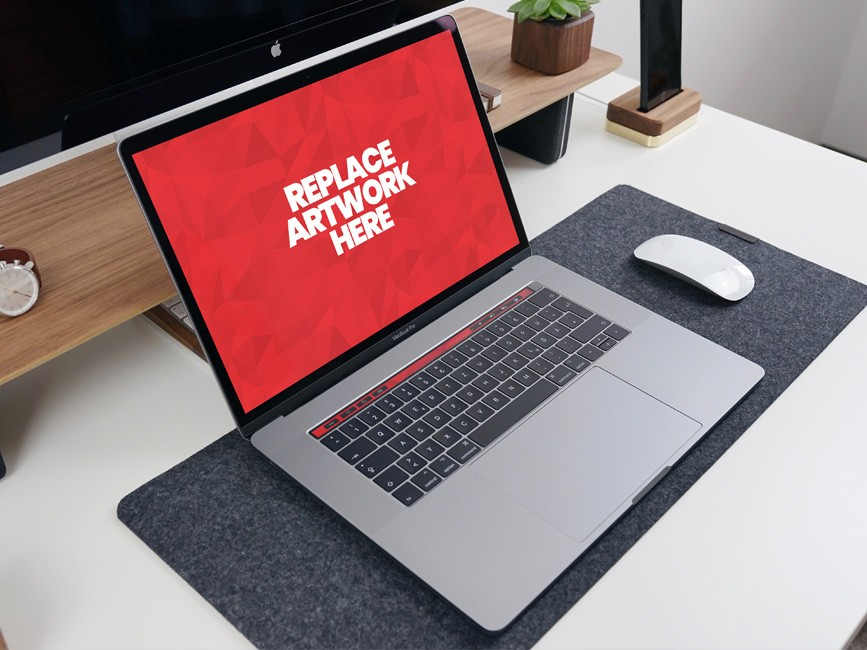MacBook Pro on Office Desk Mockup