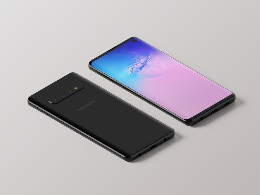 Isometric Samsung Galaxy S10 Mockup