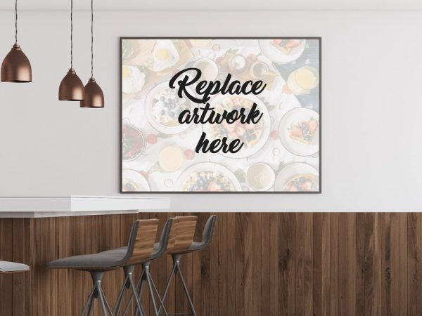 Restaurant Indoor Poster Frame Mockup  mockup, free mockup, psd mockup, mockup psd, free psd, psd, download mockup, mockup download, photoshop mockup, mock-up, free mock-up, mock-up psd, mockup template, free mockup psd, presentation mockup, branding mockup, free psd mockup