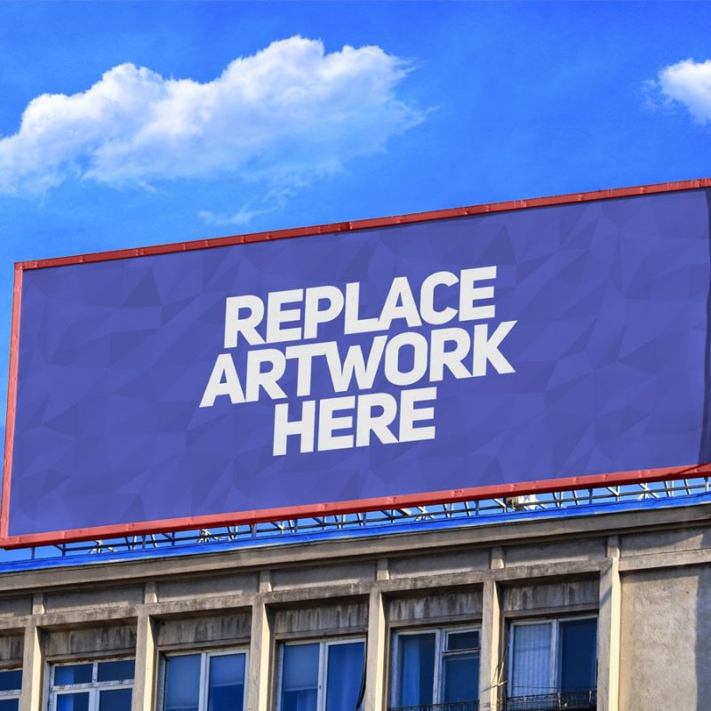 Advertising Billboard on Building Mockup