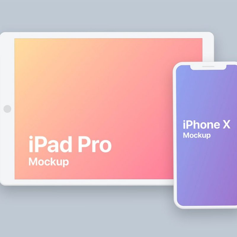 Flat iPad and iPhone X Mockup
