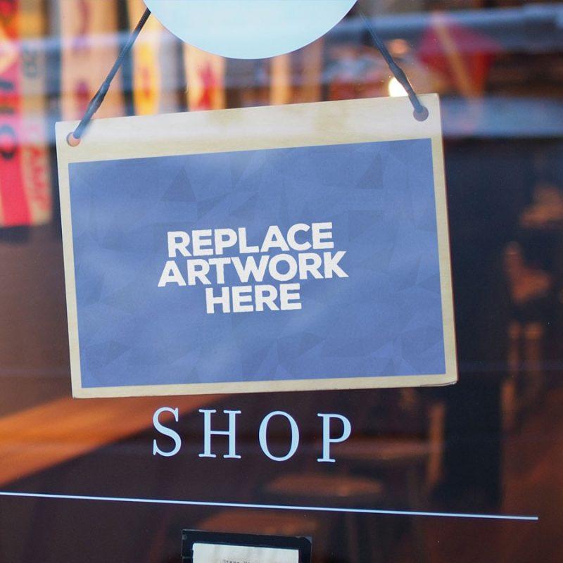 Hanging Shop Door Sign Mockup