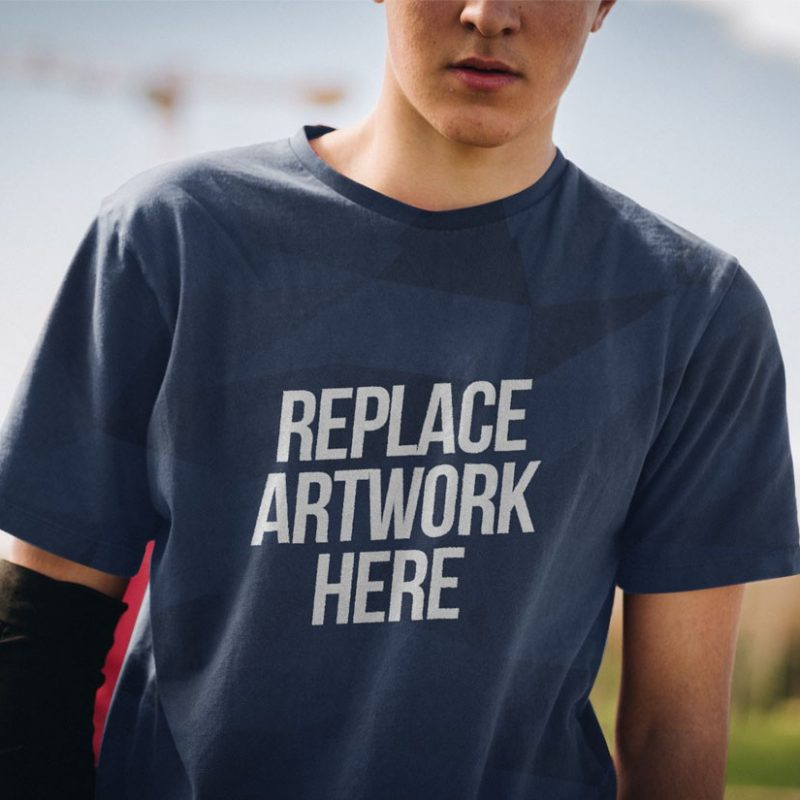 Young Man Wearing T-Shirt Mockup