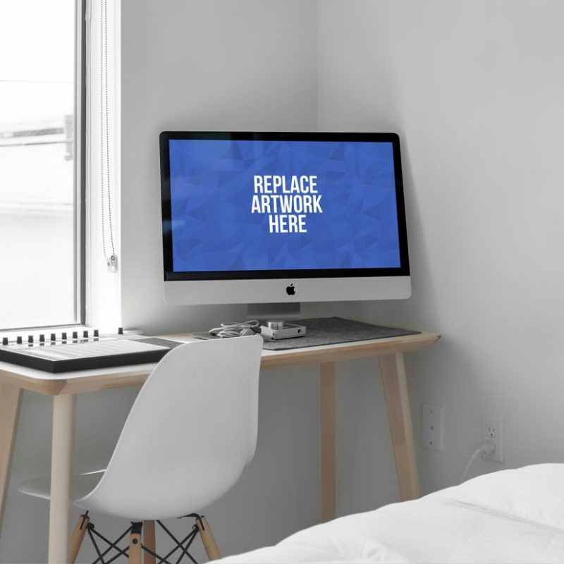 iMac on Home Desk Mockup