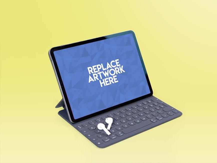 iPad Pro with Keypad Mockup  mockup, free mockup, psd mockup, mockup psd, free psd, psd, download mockup, mockup download, photoshop mockup, mock-up, free mock-up, mock-up psd, mockup template, free mockup psd, presentation mockup, branding mockup, free psd mockup