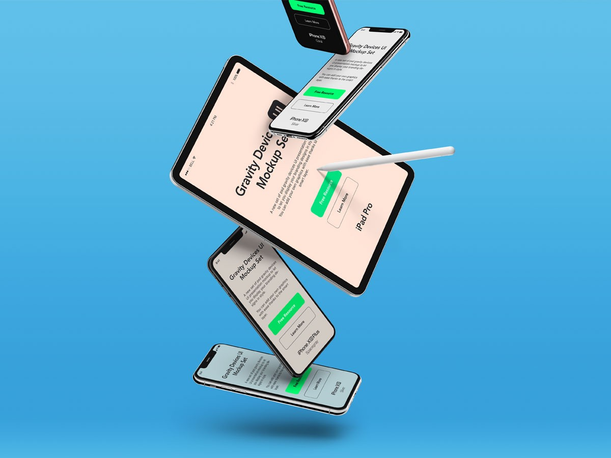 Floating Ipad And Iphone Devices Mockup Mockup Love