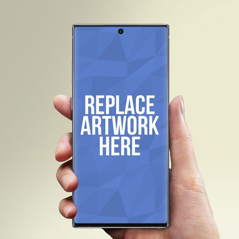 Hand Holding Galaxy Note10 Mockup