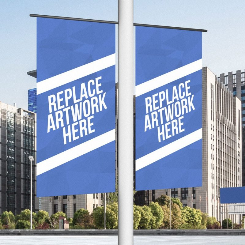 Outdoor Lamp Post Banner Mockup