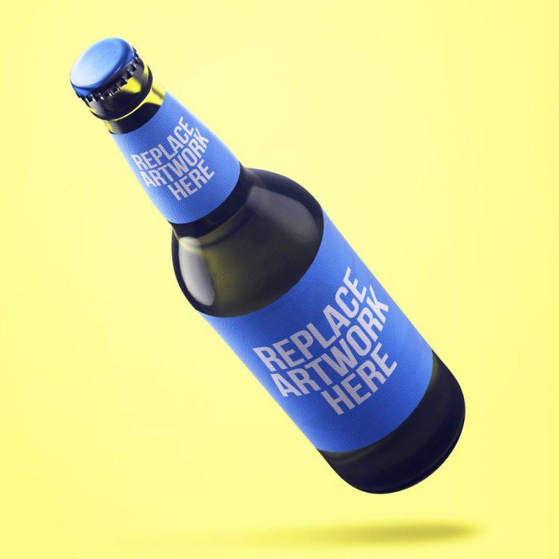 Floating Beer Bottle Mockup