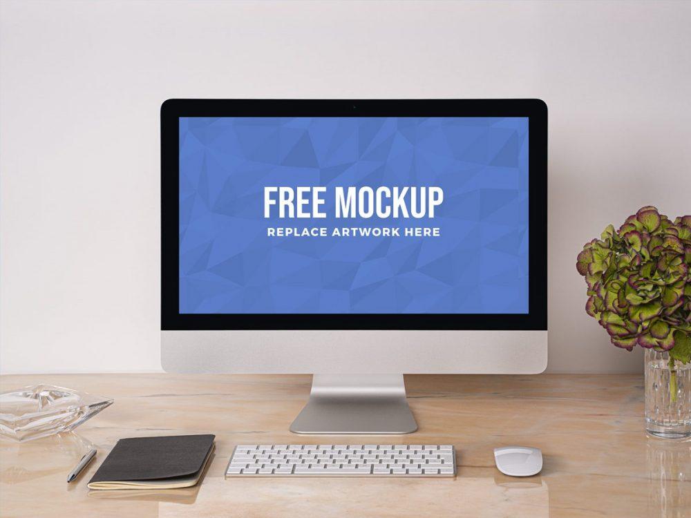 iMac on Desk Scene Mockup  mockup, free mockup, psd mockup, mockup psd, free psd, psd, download mockup, mockup download, photoshop mockup, mock-up, free mock-up, mock-up psd, mockup template, free mockup psd, presentation mockup, branding mockup, free psd mockup
