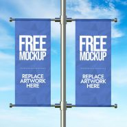 Lamp Post Advertising  Banner Mockup