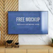 Smart TV on Wall Mockup
