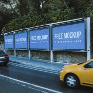 Road Side Multiple Advertising Board Mockup